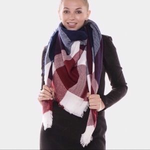 Accessories - Navy Plaid Blanket Scarf